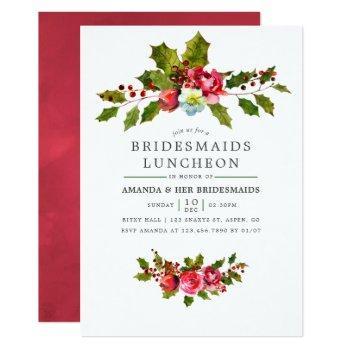christmas bridesmaids luncheon holly invitation