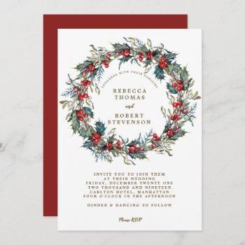 christmas holiday modern wedding invitation