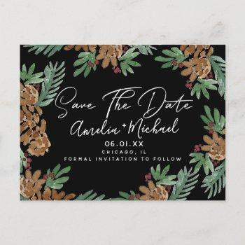 christmas watercolor pinecones black save the date postcard
