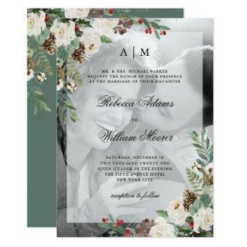 christmas wedding   photo invitation with overlay