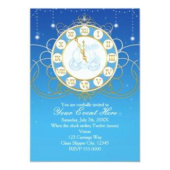 cinderella almost midnight blue gold invitations