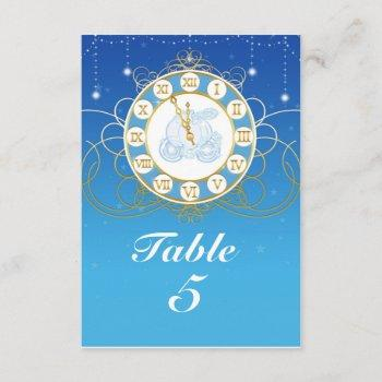 cinderella almost midnight blue table number card