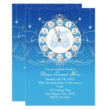 cinderella almost midnight silver blue invitation