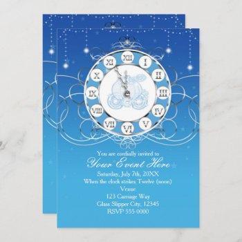 cinderella almost midnight silver blue invitation