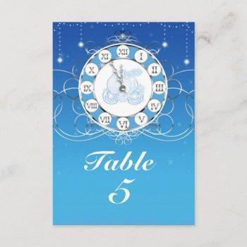 cinderella almost midnight silver blue table invitation