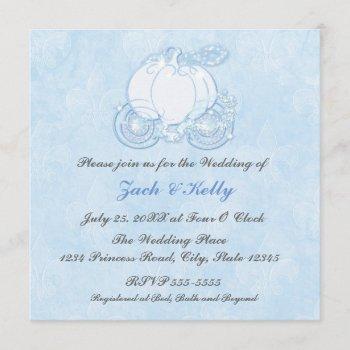 cinderella blue carriage fairytale invitations