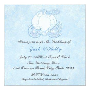 cinderella blue carriage fairytale invitations