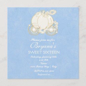 cinderella gold elegant carriage party invitation