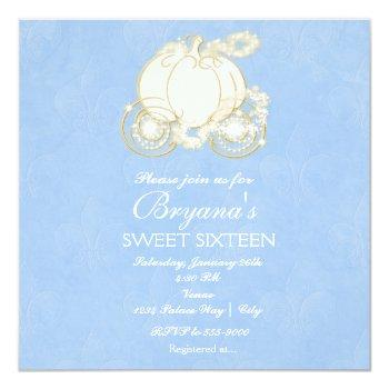 cinderella gold elegant carriage party invitation