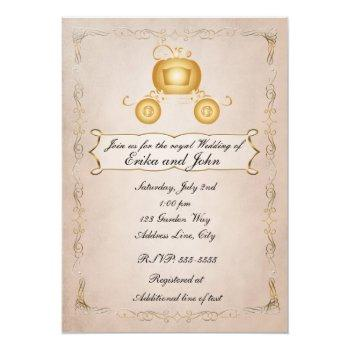 cinderella golden carriage gold princess wedding invitation