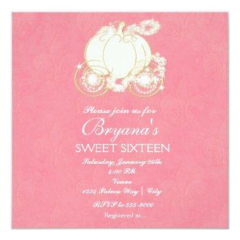 cinderella pink & gold carriage party invitation