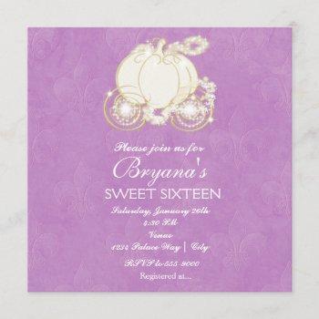cinderella purple princess carriage invitation
