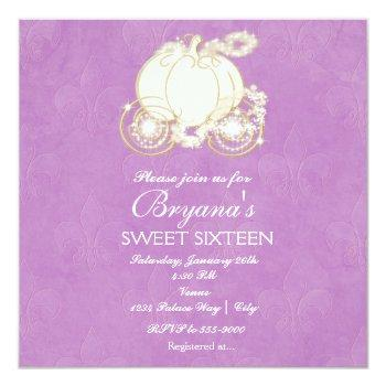 cinderella purple princess carriage invitation