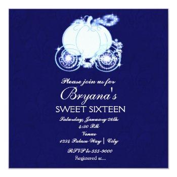 cinderella royal blue princess carriage invitation
