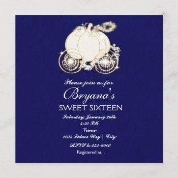 cinderella royal blue princess carriage invitation