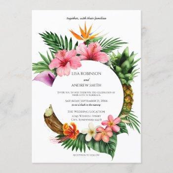 circular tropical hawaiian floral coconut wedding invitation