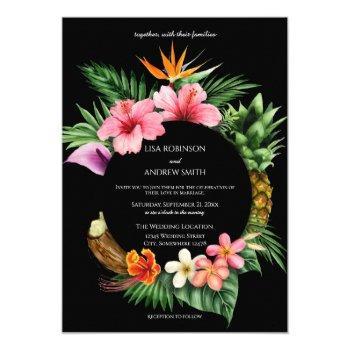 circular tropical hawaiian floral wedding- black invitation