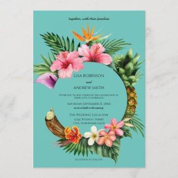 circular tropical hawaiian floral wedding- blue invitation