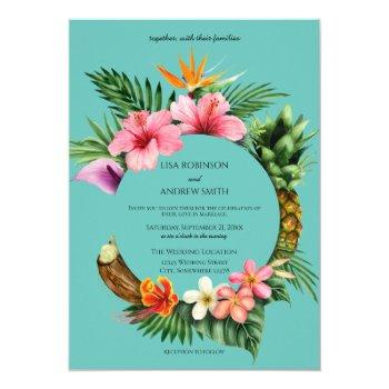circular tropical hawaiian floral wedding- blue invitation