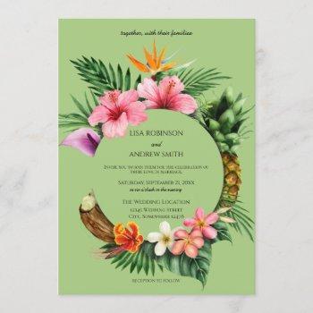 circular tropical hawaiian floral wedding- green invitation