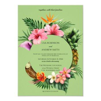 circular tropical hawaiian floral wedding- green invitation