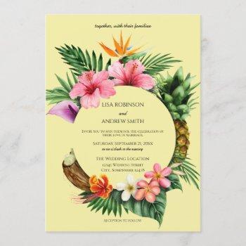 circular tropical hawaiian floral wedding- yellow invitation