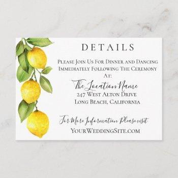 citrus orchard wedding details invitation