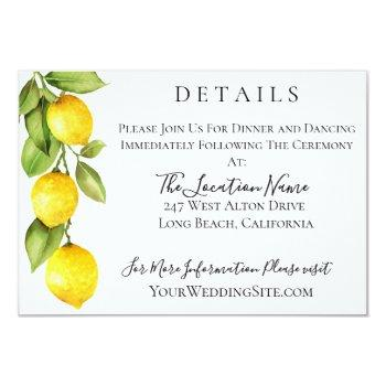 citrus orchard wedding details invitation
