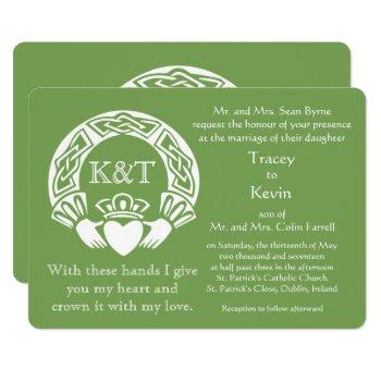 claddagh initials - customize background color invitation