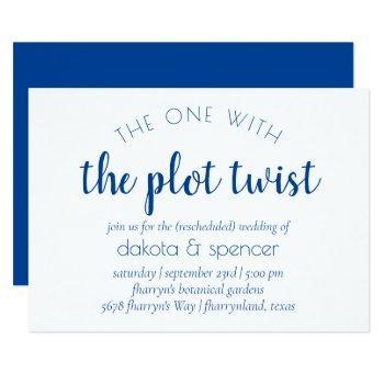 classic blue script | one with wedding plot twist invitation