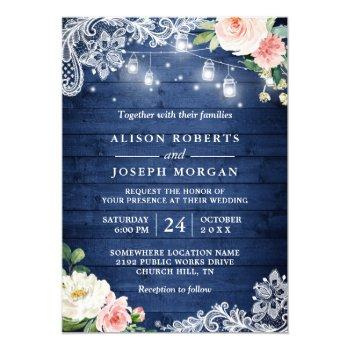 classic blue string lights floral rustic wedding invitation