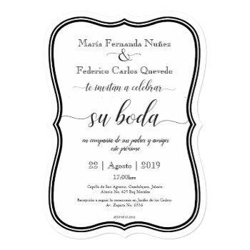 classic boda editable spanish wedding invitation