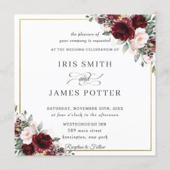 classic burgundy blush floral gold wedding square invitation