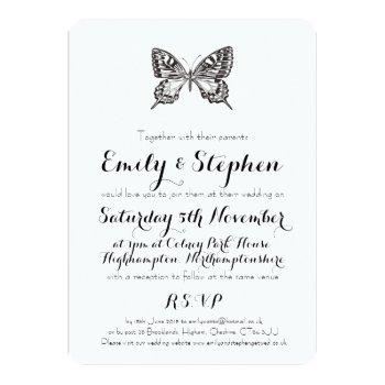 classic butterfly personalized wedding invitation