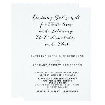 classic christian monochrome script wedding invitation