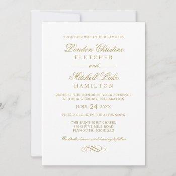 classic elegant antique gold wedding invitation