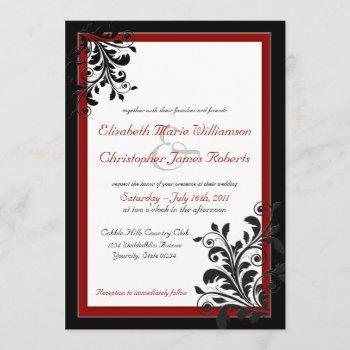 classic elegant red wedding invitation