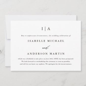 classic monogram wedding postponement announcement