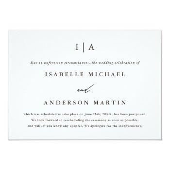 Small Classic Monogram Wedding Postponement Announcement Front View