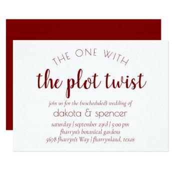classic red script | one with wedding plot twist invitation