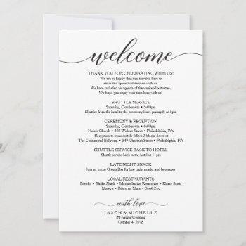 classic script wedding itinerary - wedding welcome invitation