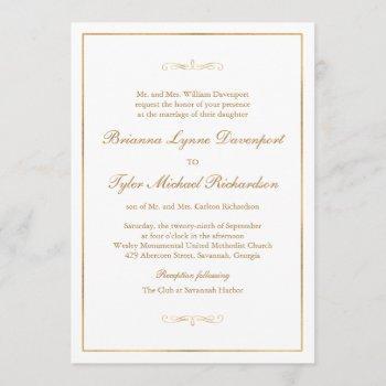 classic simple elegance gold text wedding invitation