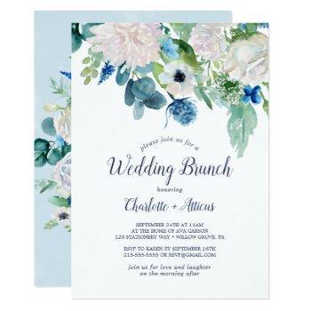 classic white flowers wedding brunch invitation