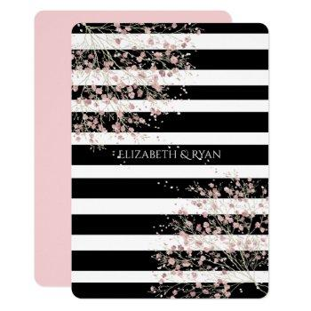 classy, black and white stripes, cherry blossom invitation
