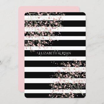 classy, black and white stripes, cherry blossom invitation