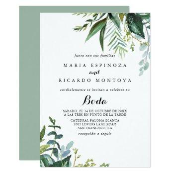 classy greenery tropical leaves spanish wedding invitation