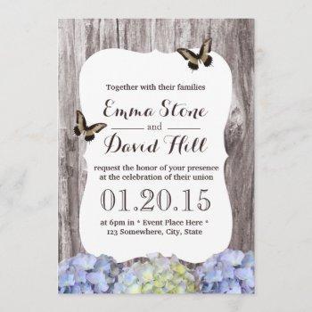classy hydrangea flowers wood background wedding invitation