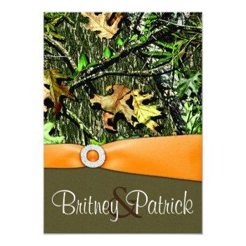 classy orange hunting camo wedding invitations