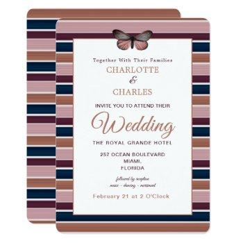 classy rose gold navy plum stripe pattern invitation