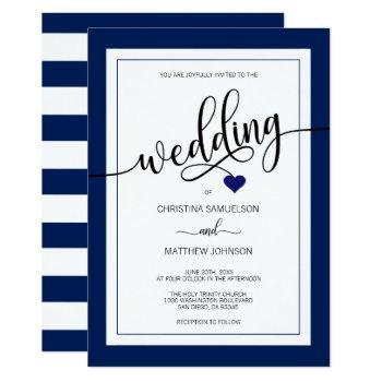 classy stripes navy blue nautical wedding invitation